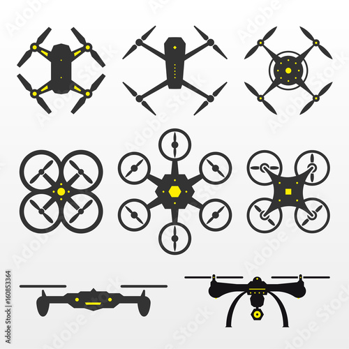 Photo Drones Vector Set
