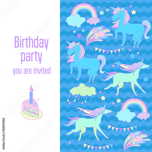 Staande foto Kasteel Happy birthday holiday card with unicorns, flags, cloud, fireworks, stars and rainbow on blue background