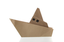 Origami Boat Papercraft By Recycle Paper Isolated In White Background
