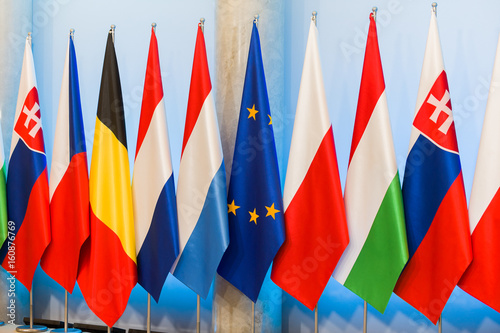 Obraz na dibondzie (fotoboard) flagi Grupy Wyszehradzkiej Polski Czech Słowacji Węgry