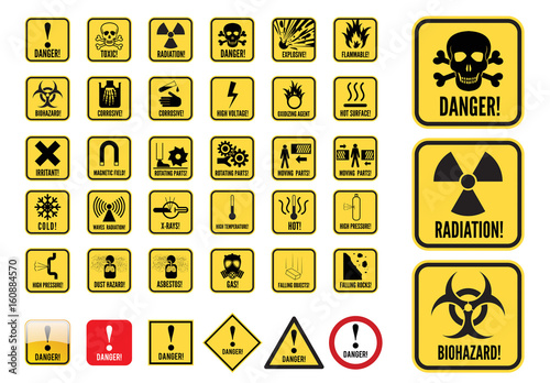 Danger Signs Graphic Set  Buy this stock template and explore