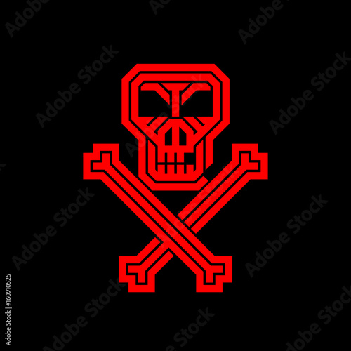 Pirate skull and bones  Abstract creative logo for the