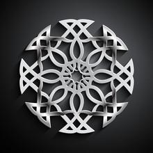 Islamic 3D Circle Ornament. Vector Round Mandala Background. Architecture Design In Arabic Style.