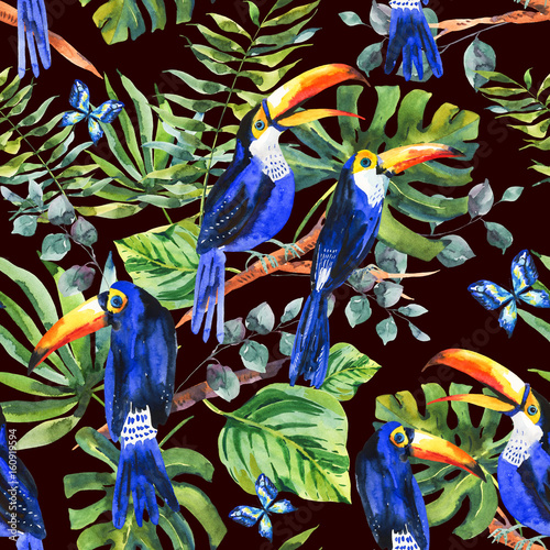 Spoed Foto op Canvas Paradijsvogel Tropical watercolor seamless pattern with toucan, exotic green l