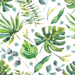 fototapeta akwarela tropikalny wzór
