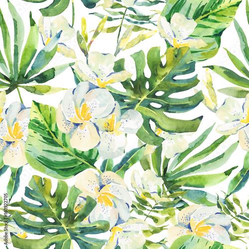 akwarela-powielany-wzor-z-tropikalny-lisci-i-orchidei