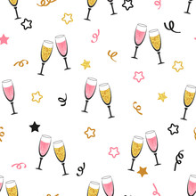 Celebration Background With Champagne Glasses. Seamless Christmas Or New Year Vector Pattern.