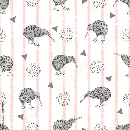 fototapeta na szkło Trendy fashion striped print with cute kiwi bird. Vector seamless pattern.