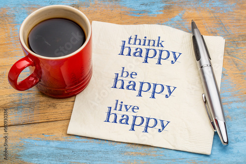 think, be, live happy - napkin concept Poster