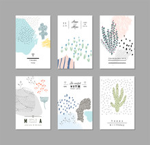 Set Of Artistic Creative Universal Cards. Hand Drawn Textures. Wedding, Anniversary, Birthday, Valentine's Day, Party. Design For Poster, Card, Invitation, Placard, Brochure, Flyer.  Vector.