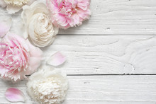 Wedding Invitation Or Anniversary Greeting Card Or Mother's Day Card Mockup Decorated With Pink And Creamy Peonies