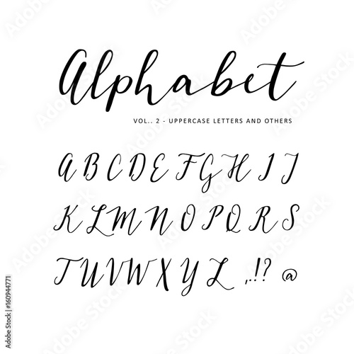 Hand drawn vector alphabet  Script font  Isolated letters