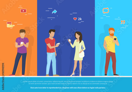 Valokuva  Group of people using smartphone concept vector illustration