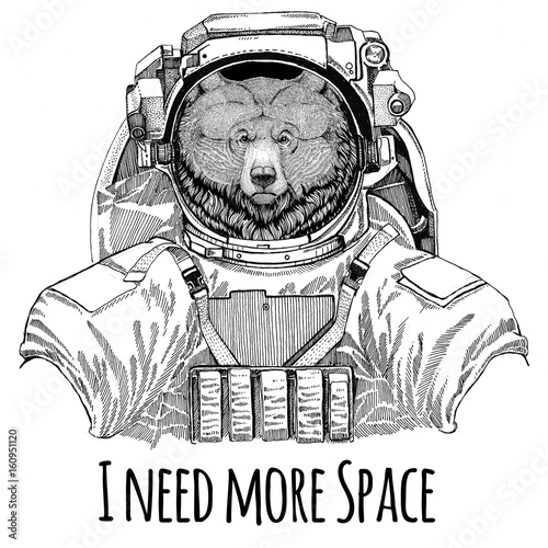 Grizzly Bear Big Wild Bear Wearing Space Suit Wild Animal