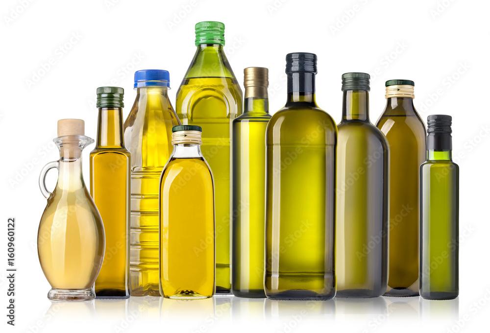 Fototapety, obrazy: Olive oil bottles on white
