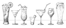 Set Of Different Glasses, Diff...