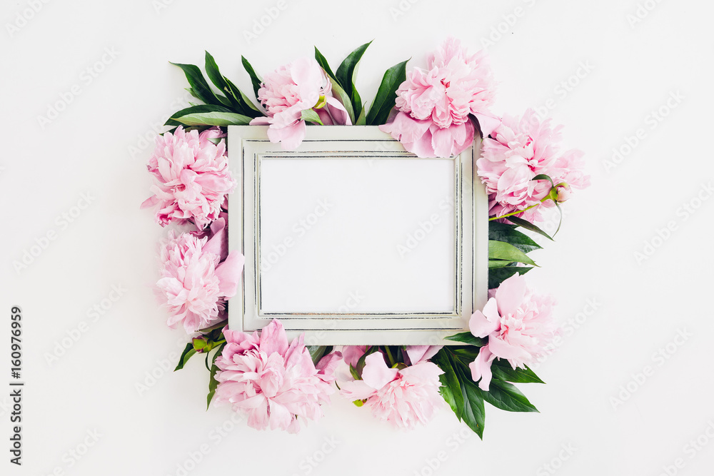 Fototapety, obrazy: Pastel wooden frame decorated with peonies flowers, space for text. mock up