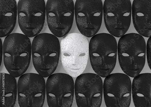 Smiling white mask among black masks, Hypocritical concept, 3d rendering Fototapeta