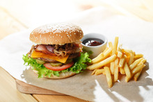 Big Tasty Burger And Fries On ...