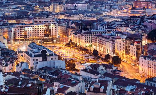 Plakat Widok z lotu ptaka z Lizbony, Portugalia