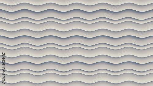 White wave band abstract surface pattern. 3d rendering - 160984167
