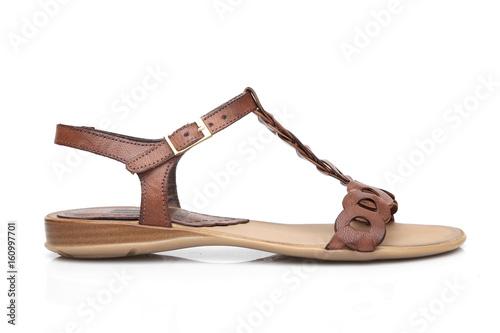 3e058638cd51c Female Brown Sandal on White Background