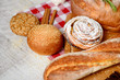 freshly baked bread. Different types of bread and rolls on Board
