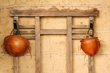 Traditional Leather Hats From Northeastern Brazil Hanging In Hat Rack