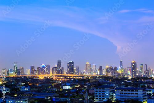 Staande foto Las Vegas Bangkok city, Thailand at twilight. The center of town.