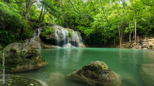 Fototapety, obrazy: Beautiful and Breathtaking green waterfall, Erawan's waterfall, Located Kanchanaburi Province, Thailand