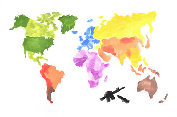 The world map is made with colored watercolor paints on white paper with the participation of a black toy gun and a knife. The concept of military operations around the world