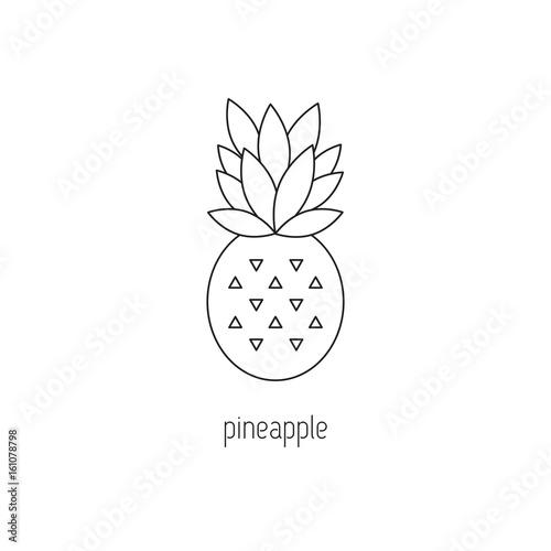 Wall Murals Retro sign Pineapple line icon