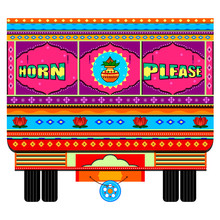 Truck Of India In Indian Art Style