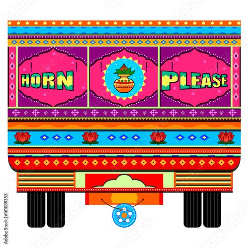 Ciężarówka Indii w indyjskim stylu sztuki