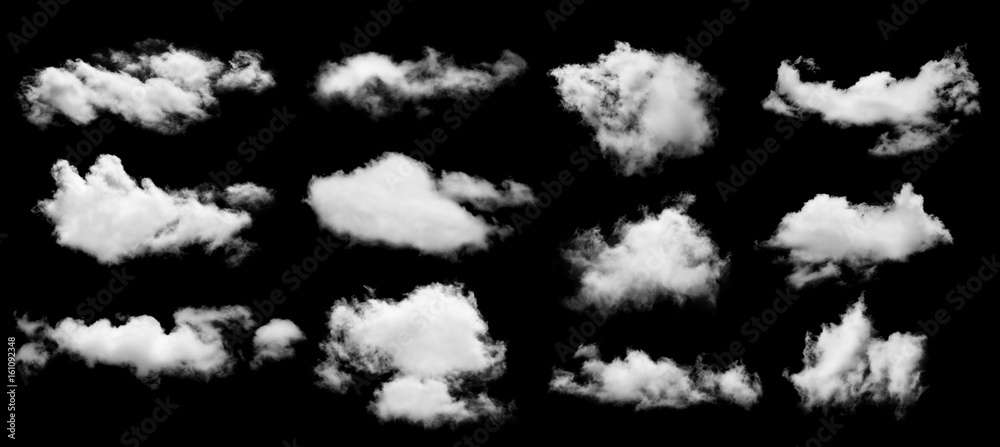 set of white cloud isolated on black background
