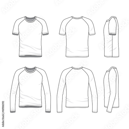 vector templates of clothing set  front  back  side views
