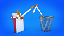 Bunch Of Cigarettes In The Trash Bin. Quit Smoking Concept. 3d Rendering