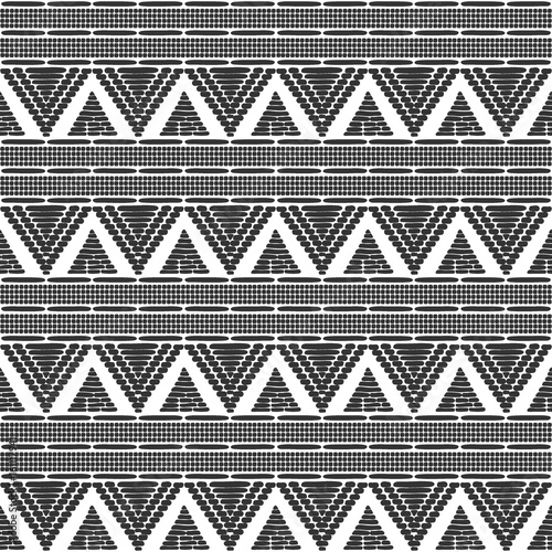 Tribal Pattern Vector Seamless Ethics African Black White Texture Border Background For Fabric