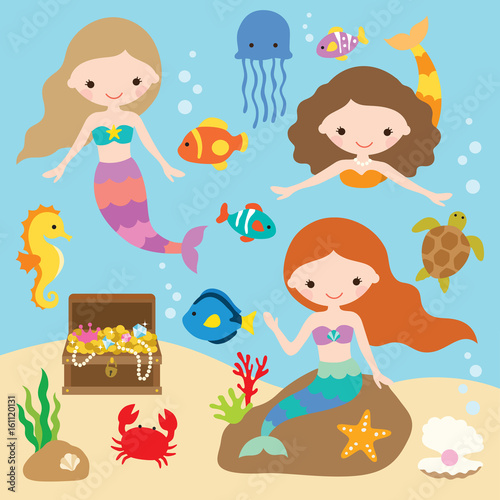 Vector illustration of cute little mermaids with fishes, jellyfish, starfish, crab, turtle, seahorse, shells, and treasure chest under the sea Poster