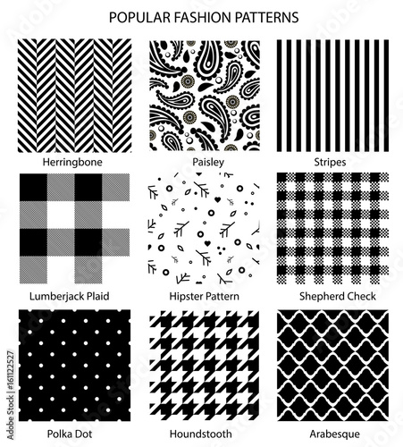 Photo  Popular fashion pattern set vector