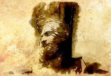Jesus On The Cross, Avanrgard Interpretation With Graphic Stylization. Sepia Effect.