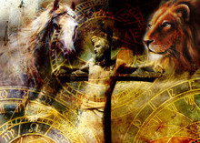 Interpretation Of Jesus On The Cross And Animals And Zodiac, Graphic Painting Version. Sepia Effect.