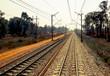 distant train tracks railway background