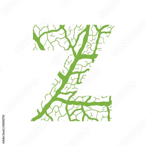 Nature Alphabet Ecology Decorative Font Capital Letter Z Filled