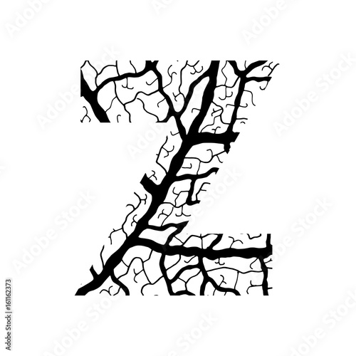 Nature Alphabet Ecology Decorative Font Capital Letter Z Filled