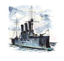 Cruiser Avrora, St. Petersburg. Hand Drawing Illustration. Watercolor