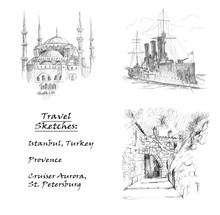 Travel Sketches. Hand Drawing ...