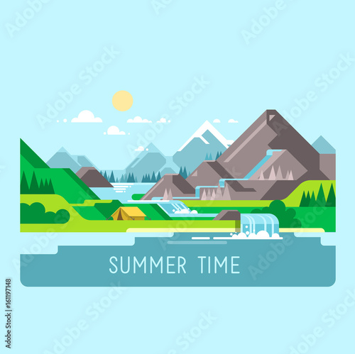 Printed kitchen splashbacks Light blue Flat design nature landscape illustration with sun, mountains and clouds. Camping in the mountains.