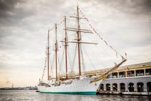 Tall Ship Moored In Havana, Cuba Harbor