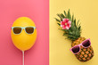 canvas print picture Fashion Pineapple and Yellow air Balloon. Bright Summer Color, Accessories. Tropical Hipster pineapple with Sunglasses. Creative Art concept. Minimal style. Summer party background. Fun